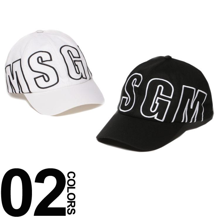 MSGM (エムエスジーエム) ビックロゴ マジックテープアジャスター キャップメンズ ブランド 男性 カジュアル ファッション 帽子 コットン サイズ調節可能 デカロゴ 夏 MS2540ML15X