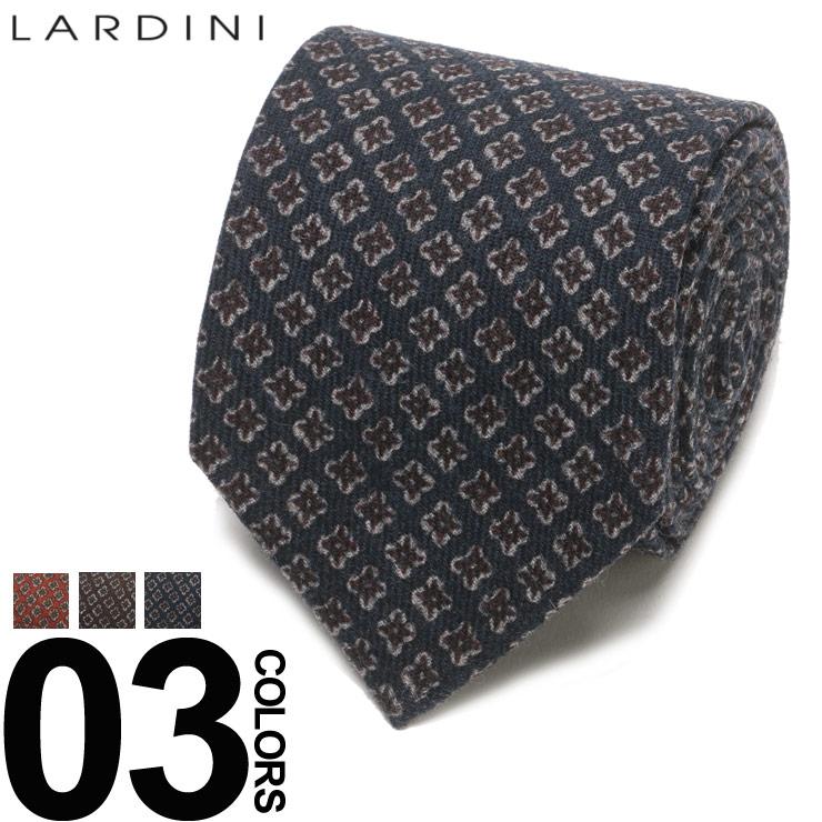 LARDINI (ラルディーニ) ウール100% ブートニエール付き 総柄 ネクタイブランド メンズ 男性 紳士 ビジネス 小物 ギフト プレゼント ラッピング 贈り物 タイ ウール LDCRC8IG51102