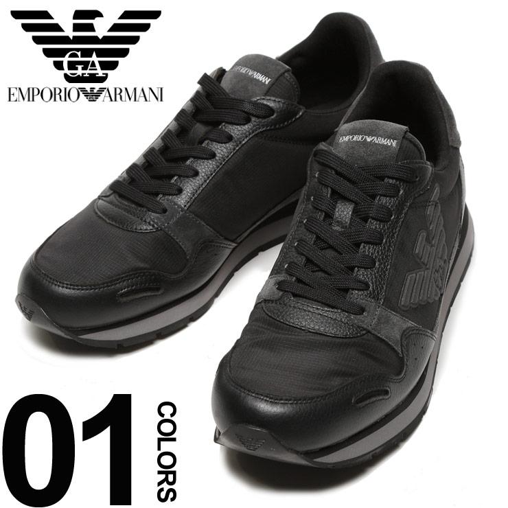EMPORIO ARMANI (エンポリオ アルマーニ) ロゴ レザー×ナイロン ローカットスニーカー ブランド メンズ 男性 カジュアル ファッション 靴 シューズ 【EAX4X215XL454】
