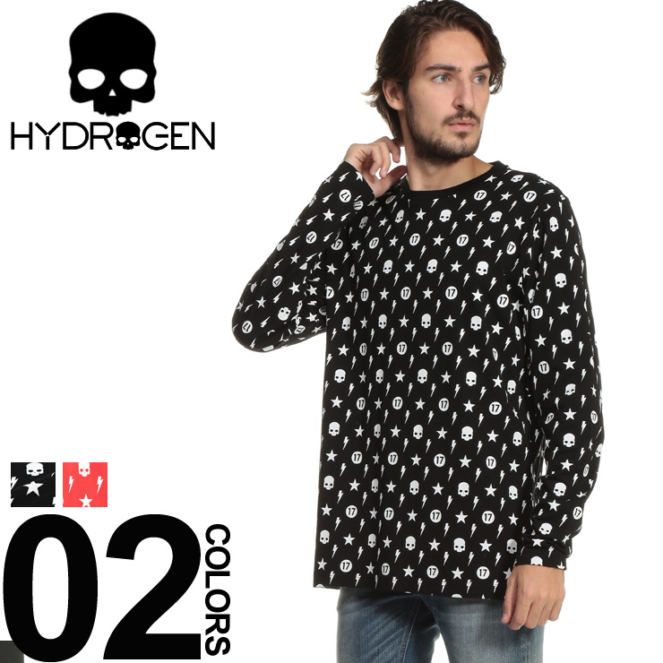 HYDROGEN (ハイドロゲン) 綿100% モノグラムプリント クルーネック Tシャツブランド メンズ 男性 カジュアル ファッション トップス シャツ ロンT 長袖 スカル スター HY230639