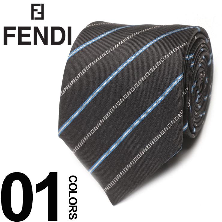 FENDI (フェンディ) シルク100% ストライプ ネクタイブランド メンズ 男性 紳士 ビジネス 小物 ギフト プレゼント ラッピング 贈り物 タイ シルク FDA0CAF14IN