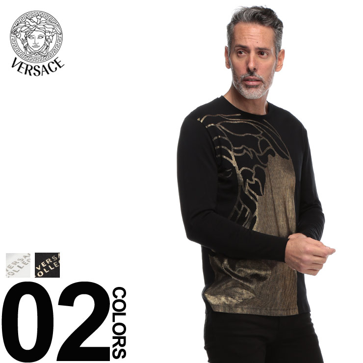 VERSACE (ヴェルサーチ) 綿100% フェイスプリント クルーネック Tシャツブランド メンズ 男性 カジュアル ファッション トップス シャツ ロンT 長袖 プリント コットン VCV800491RVJ534