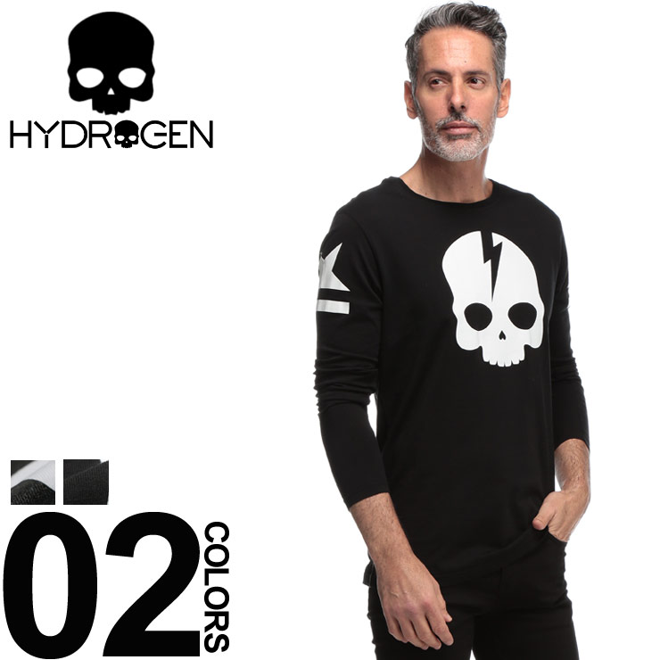 HYDROGEN (ハイドロゲン) 綿100% スカルプリント クルーネック Tシャツブランド メンズ 男性 カジュアル ファッション トップス シャツ ロンT 長袖 ドクロ コットン HY230053