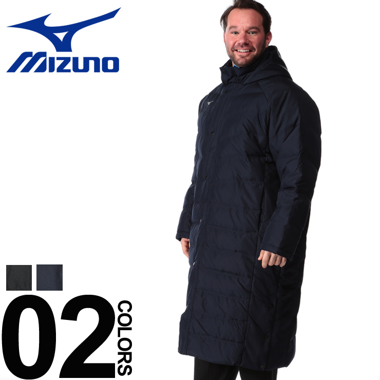 大きいサイズ メンズ MIZUNO (ミズノ) 撥水 ボタンジップ ロング ダウンコート [3L-6L] サカゼン カジュアル アウター フード ベンチコート スポーツ 防寒