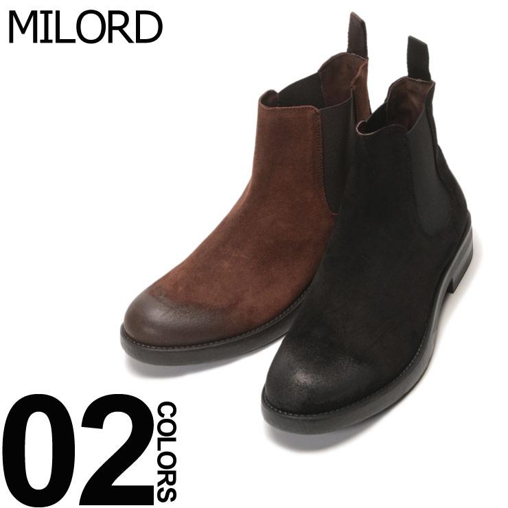 MILORD (ミロード) スウェード サイドゴア ブーツブランド メンズ 男性 カジュアル ファッション 靴 シューズ スエード レザー シンプル ML4666