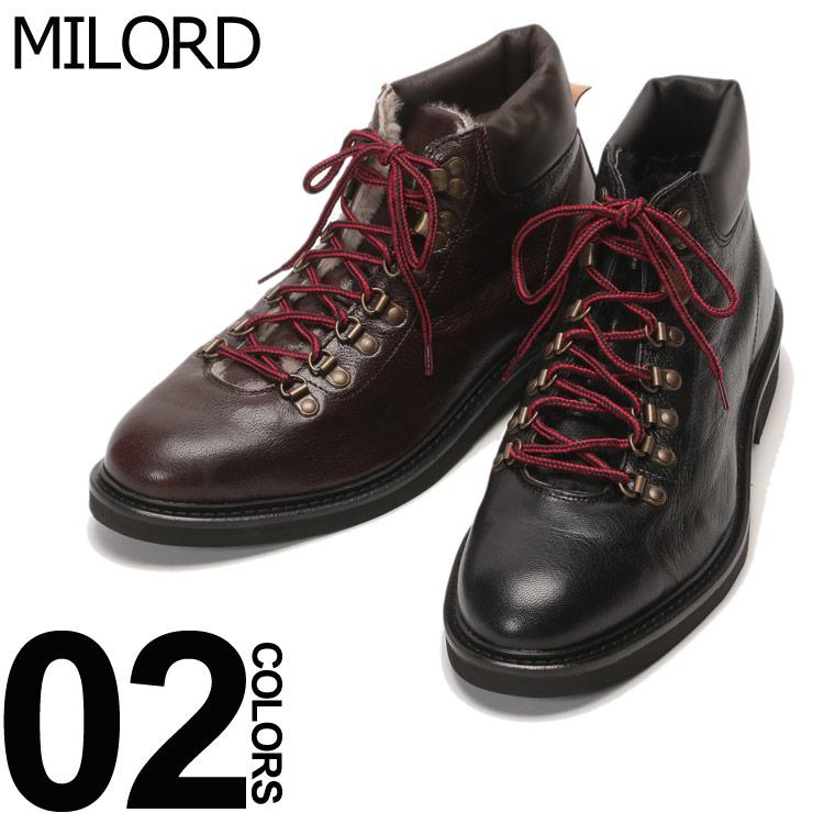 MILORD (ミロード) 裏起毛 レースアップ トレッキングブーツブランド メンズ 男性 カジュアル ファッション 靴 シューズ ショート アウトドア レザー ML4809S