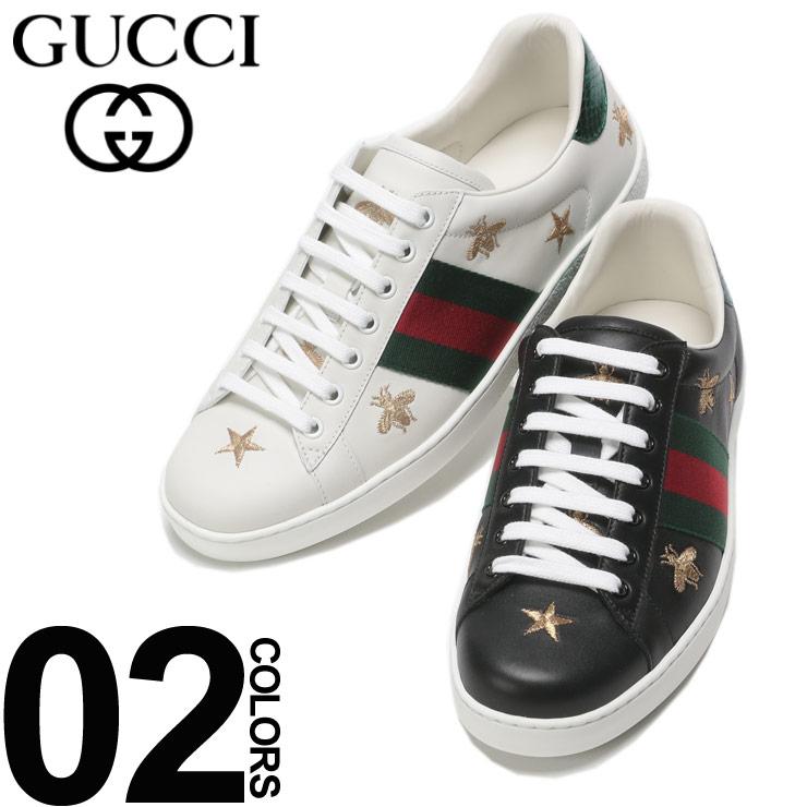 GUCCI (グッチ) レザー スタービー ローカットスニーカーブランド メンズ 男性 カジュアル ファッション 靴 シューズ スニーカー 革 星 蜂 ハチ GC386750A38F0