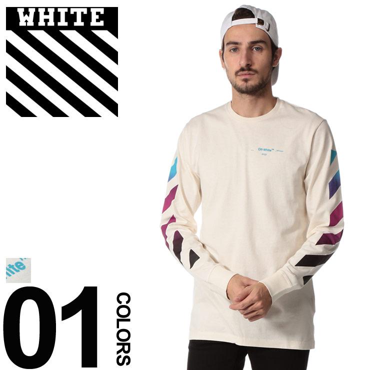 OFF-WHITE (オフホワイト) 綿100% グラデーション ロゴプリント クルーネック Tシャツブランド メンズ 男性 カジュアル ファッション トップス シャツ ロンT 長袖 プリント スラッシュ OWAB01F18185005