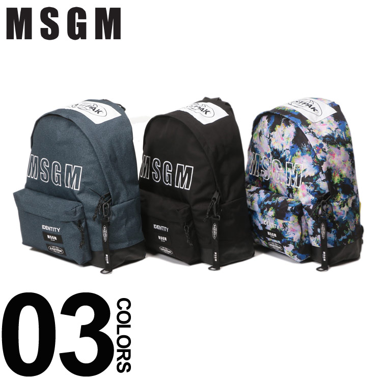 MSGM (エムエスジーエム) EASTPAKコラボ 2WAY ロゴ刺繍 バックパックブランド レディース メンズ ユニセックス ファッション リュック バッグ 大きい コラボ MS2540MZ200