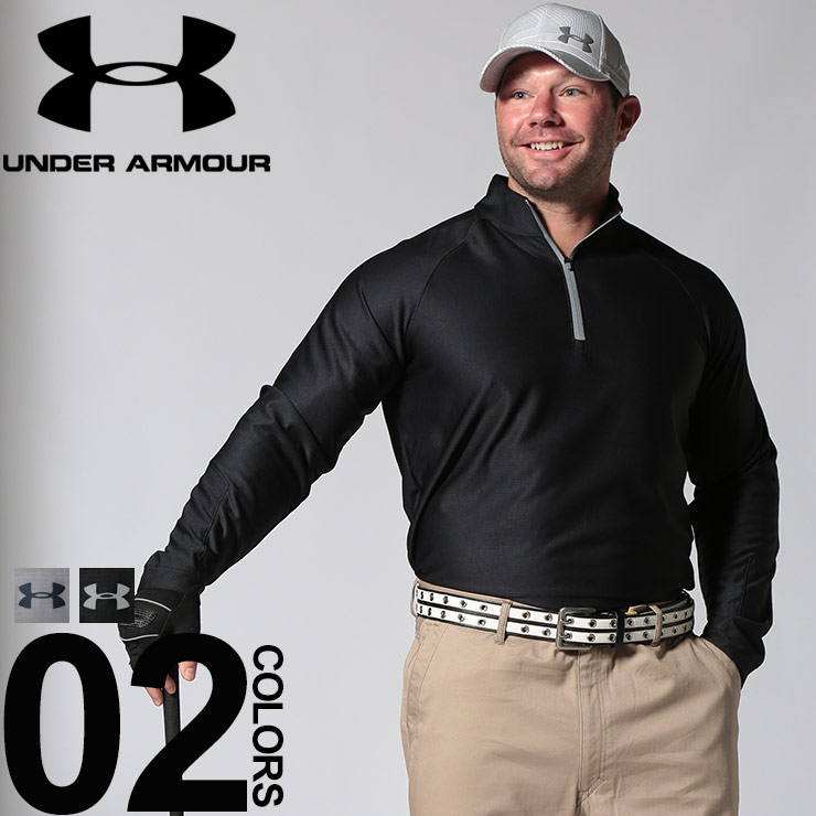 大きいサイズ メンズ UNDER ARMOUR (アンダーアーマー) LOOSE 袖ロゴ スタンドカラー ハーフジップ 長袖 ジャケット GOLF LOFT MOCK [1XL 2XL] サカゼン ビッグサイズ カジュアル トップス セーター プルオーバー 無地 シンプル スポーツ