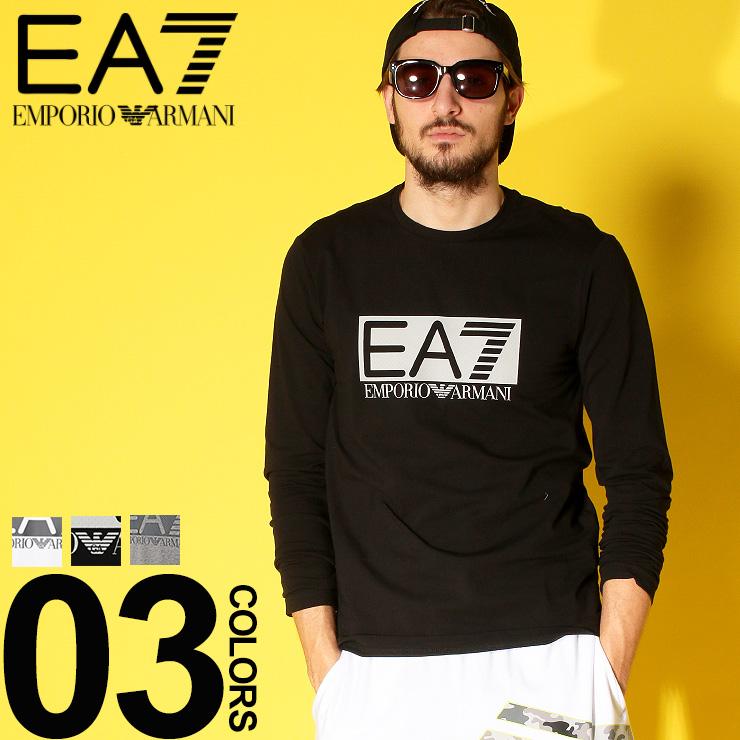 EMPORIO ARMANI EA7 (エンポリオ アルマーニ イーエーセブン) フロントロゴ クルーネック 長袖 Tシャツブランド メンズ 男性 カジュアル ファッション トップス シャツ ロンT コットン シンプル EA3GPT64PJ03Z