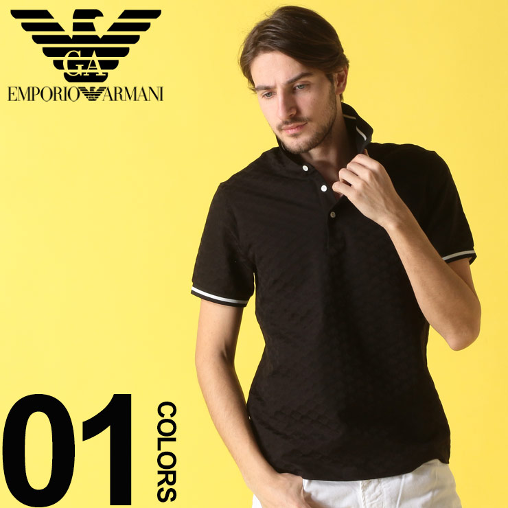 8a87b833c5 Armani tops men EMPORIO ARMANI (Emporio Armani) 100-percent-cotton jacquard  shadow logo short sleeves polo shirt brand men casual fashion tops shirt ...