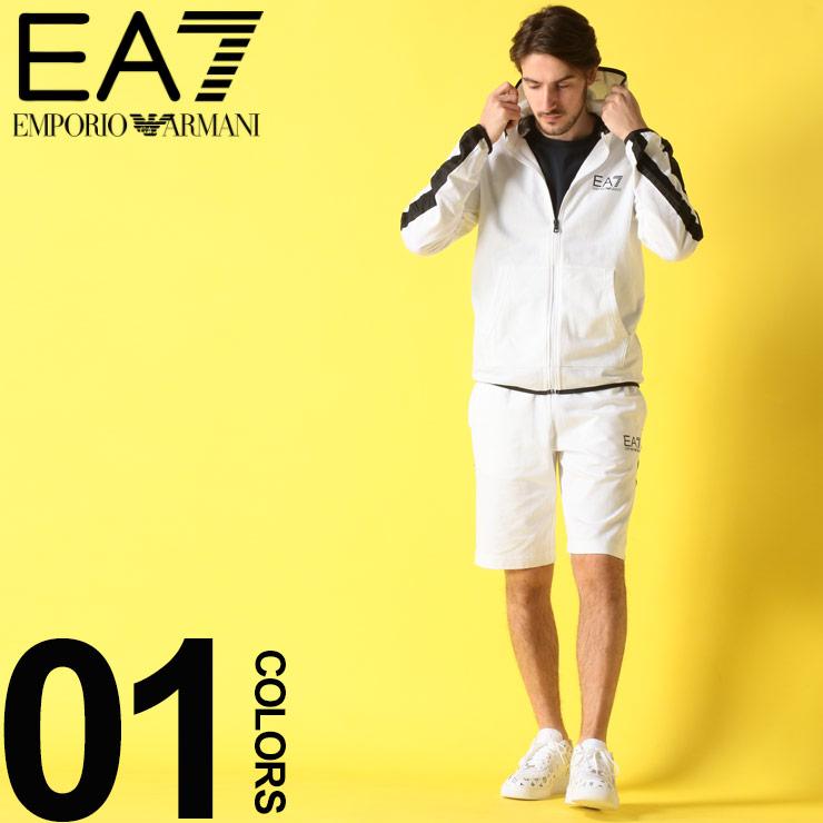 EMPORIO ARMANI EA7 (エンポリオ アルマーニ イーエーセブン) サイドライン パーカー ショートパンツ セットアップブランド メンズ 男性 カジュアル ファッション 上下セット フード シンプル スポーツ ロゴプリント EA3GPM22PJ05Z