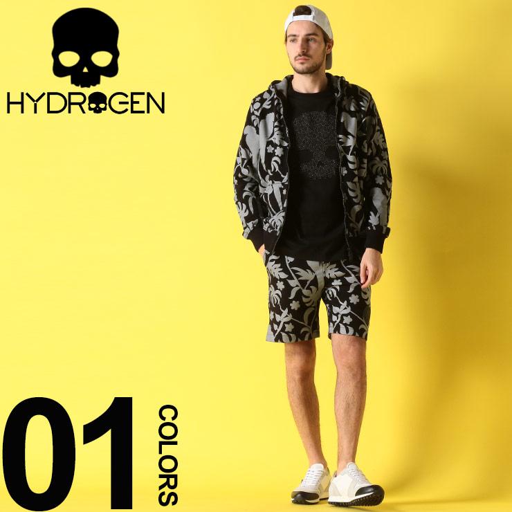 HYDROGEN (ハイドロゲン) 綿100% リーフ柄 パーカー ショートパンツ セットアップブランド メンズ 男性 カジュアル ファッション 上下セット ジップ ボタニカル 裏毛 スウェット HY240600SETUP