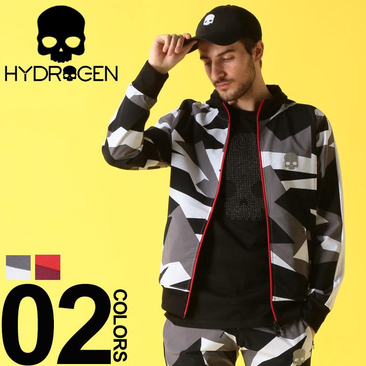 HYDROGEN (ハイドロゲン) ナイロン 迷彩 フルジップ フード ブルゾンブランド メンズ 男性 カジュアル ファッション アウター パーカー カモフラ スカル スポーティー HY240100