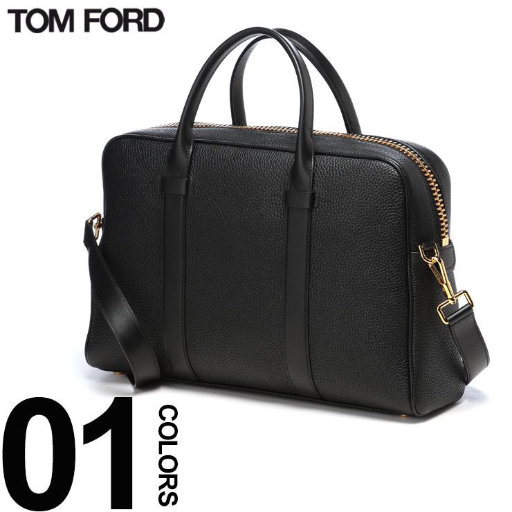 TOM FORD (トム フォード) 2WAY レザー ゴールドジップ ブリーフバッグブランド メンズ 男性 紳士 ビジネス バッグ 鞄 ファッション シンプル レザーバッグ TFH036TCP5