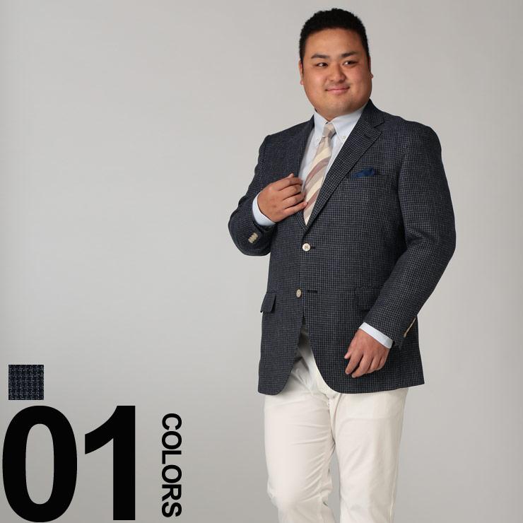 サマージャケット 大きいサイズ ジャケット メンズ 春夏対応 麻混 ichiteki生地 格子柄 シングル 2ツ釦 ネイビー KB体 KBE体 2KE体 ビーアンドティクラブ B&T CLUB