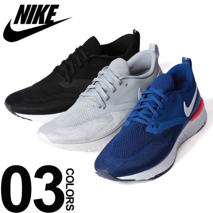 ナイキ スニーカー 大きいサイズ メンズ 靴 ロゴ ニットアッパー グレー/ブラック/ブルー 29.0-31.0cm NIKE ODYSSEY REACT 2 FLYKNIT
