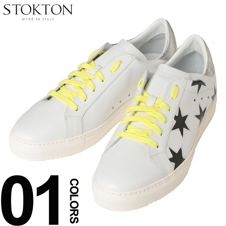 STOKTON (ストックトン) レザー ブラックスター ローカットスニーカーブランド メンズ 男性 カジュアル ファッション 靴 シューズ スニーカー バイカラー 革 ST352UWHT