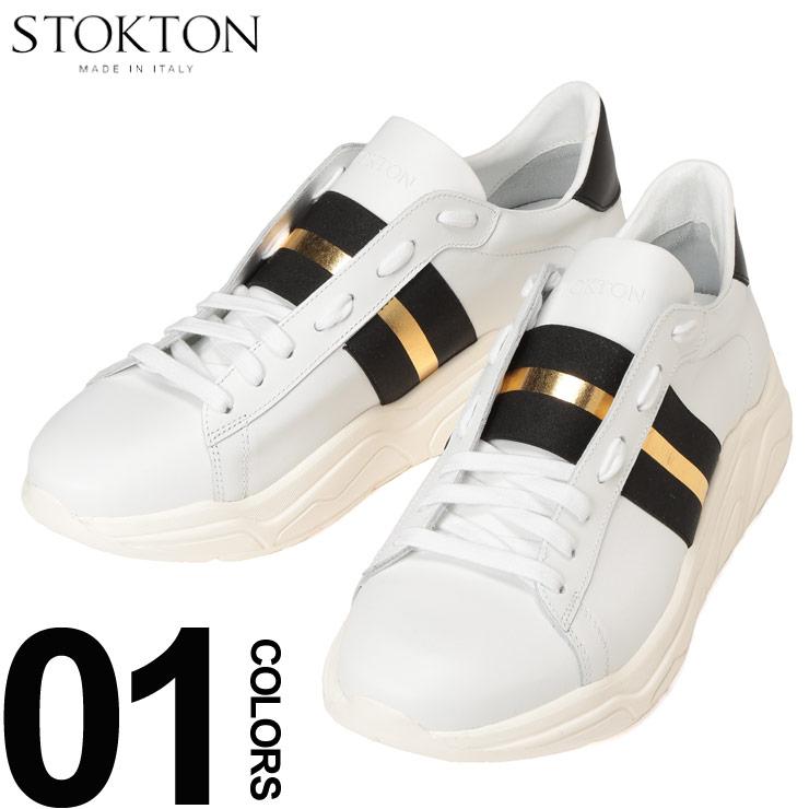STOKTON (ストックトン) レザー ブラック×ゴールドライン ダットスニーカーブランド メンズ 男性 カジュアル ファッション 靴 シューズ スニーカー 派手 革 ST650U19SS