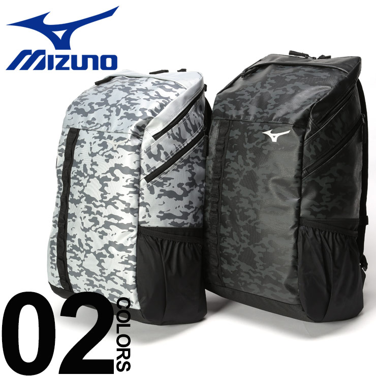バックパック 大きいサイズ メンズ リュック 鞄 迷彩 背面メッシュ ターポリン ブラック/シルバー 30L MIZUNO