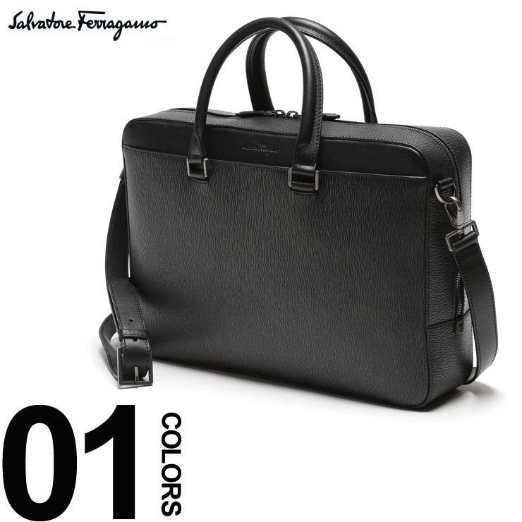 FERRAGAMO (フェラガモ) 2WAY カーフレザー フロントポケット ブリーフバッグブランド メンズ 男性 紳士 ビジネス 小物 鞄 バッグ ショルダー ビジネスバッグ FG670623S9
