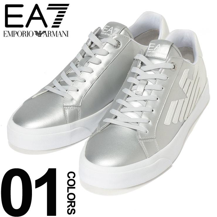 EMPORIO ARMANI EA7 (エンポリオ アルマーニ イーエーセブン) シルバーグラデ ロゴ ローカットスニーカーブランド メンズ 男性 カジュアル ファッション 靴 シューズ スニーカー メタリック 派手 EAX8X037XK067