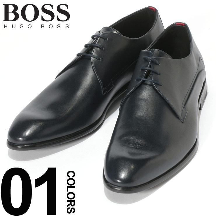 HUGO BOSS (ヒューゴ ボス) レザー レースアップ 外羽根 プレーントゥ シューズ NAVYブランド メンズ 男性 紳士 ビジネス フォーマル 革靴 本革 ビジネスシューズ ギフト HBR50383528