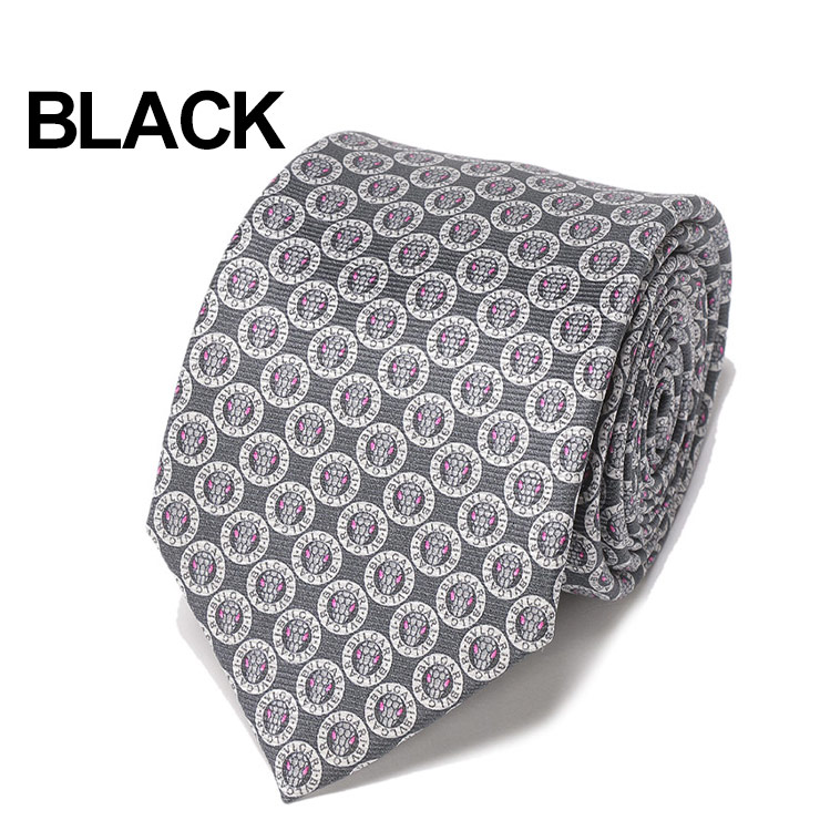 BVLGARIブルガリシルク100% ロゴ総柄 ネクタイ LOGOMANIAブランド メンズ 男性 紳士 ビジネス 小物sQCrthd