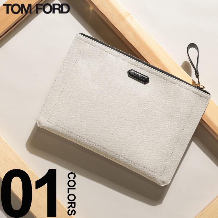 TOM FORD (トム フォード) キャンバス ロゴ ゴールドジップ クラッチバッグブランド メンズ 男性 カジュアル ファッション 小物 バッグ クラッチ コットン レザー TFH0271TF31