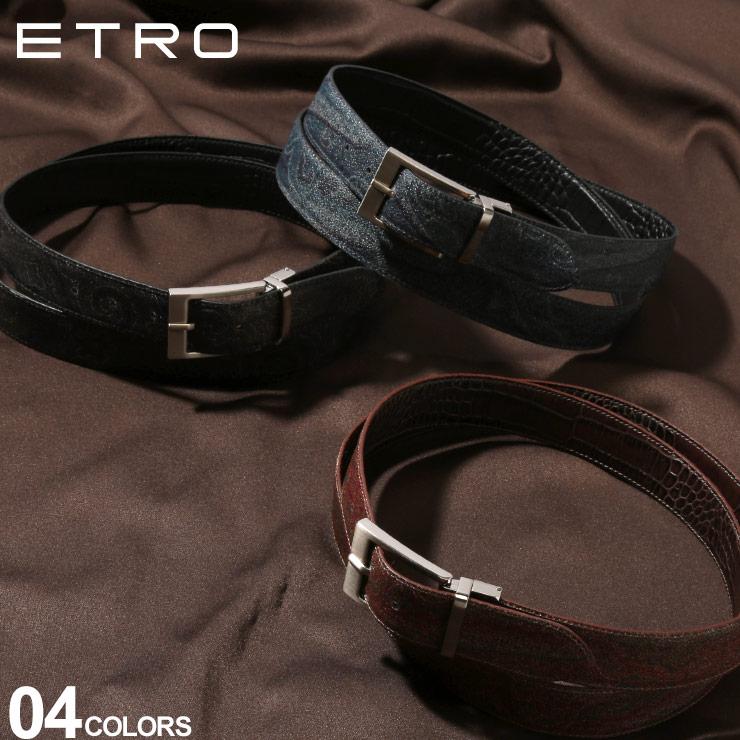 ETRO (エトロ) リバーシブル ペイズリー×型押し ベルトブランド メンズ 男性 紳士 ビジネス カジュアル 小物 ギフト レザーベルト プリント ET1H70282140