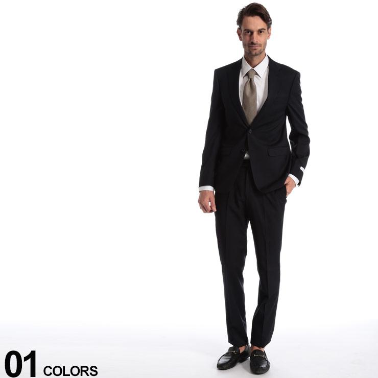Calvin Klein (カルバン クライン) ストレッチ ウール100% 無地 シングル 2ツ釦 スーツ SLIM FITブランド メンズ 男性 紳士 ビジネス フォーマル ノータック シングルスーツ 細身 伸縮 CKMABRY5FY0111
