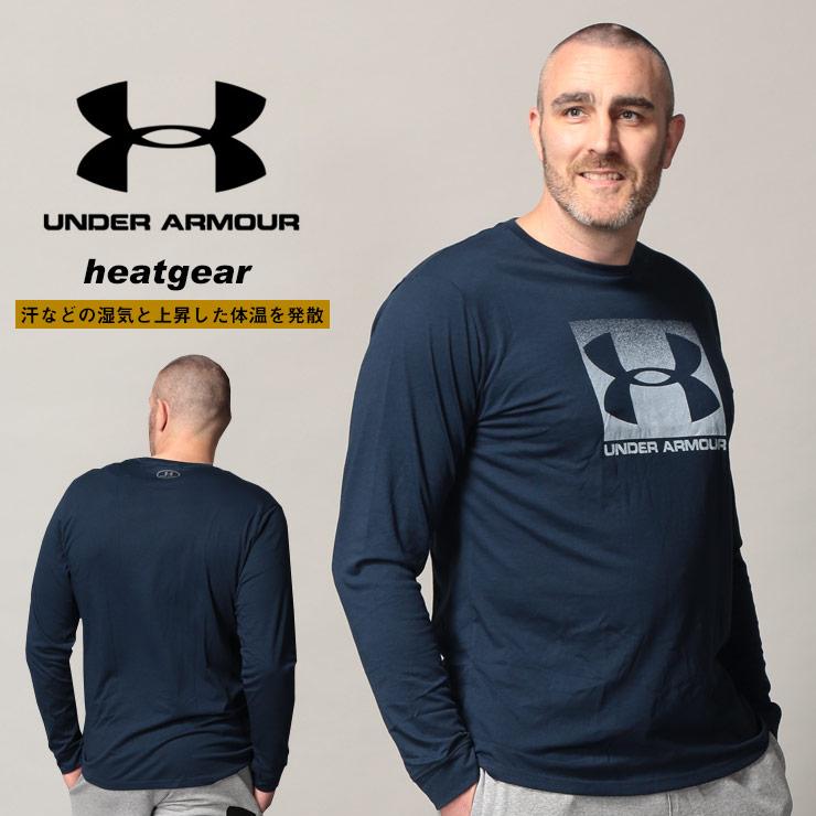 アンダーアーマー USA規格 長袖 Tシャツ 大きいサイズ メンズ heatgear LOOSE BOXロゴ クルーネック ネイビー 1XL-3XL UNDER ARMOUR