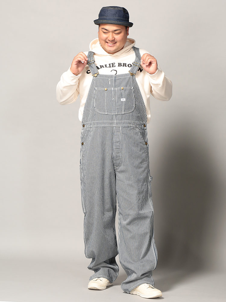 2000円offクーポン有 オーバーオール 大きいサイズ メンズ デニム ヒッコリー ロング サロペット ロングパンツ ズボンnwPkX0ON8Z