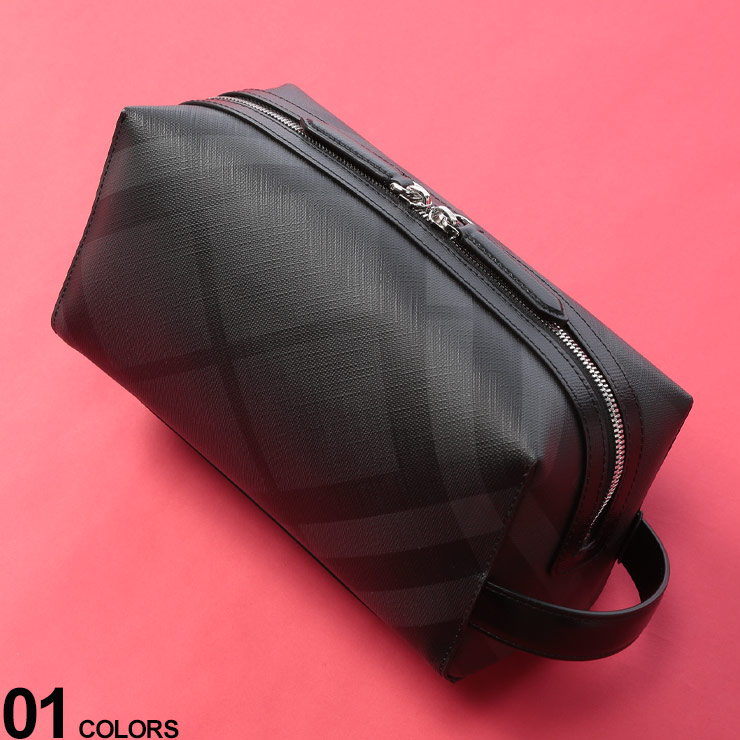 BURBERRY (バーバリー) ロンドンチェック レザー セカンドバッグ DARKGRAYブランド メンズ 男性 小物 鞄 ボディバッグ セカンドバッグ フォーマル カジュアル コンパクト チェック BB4068330