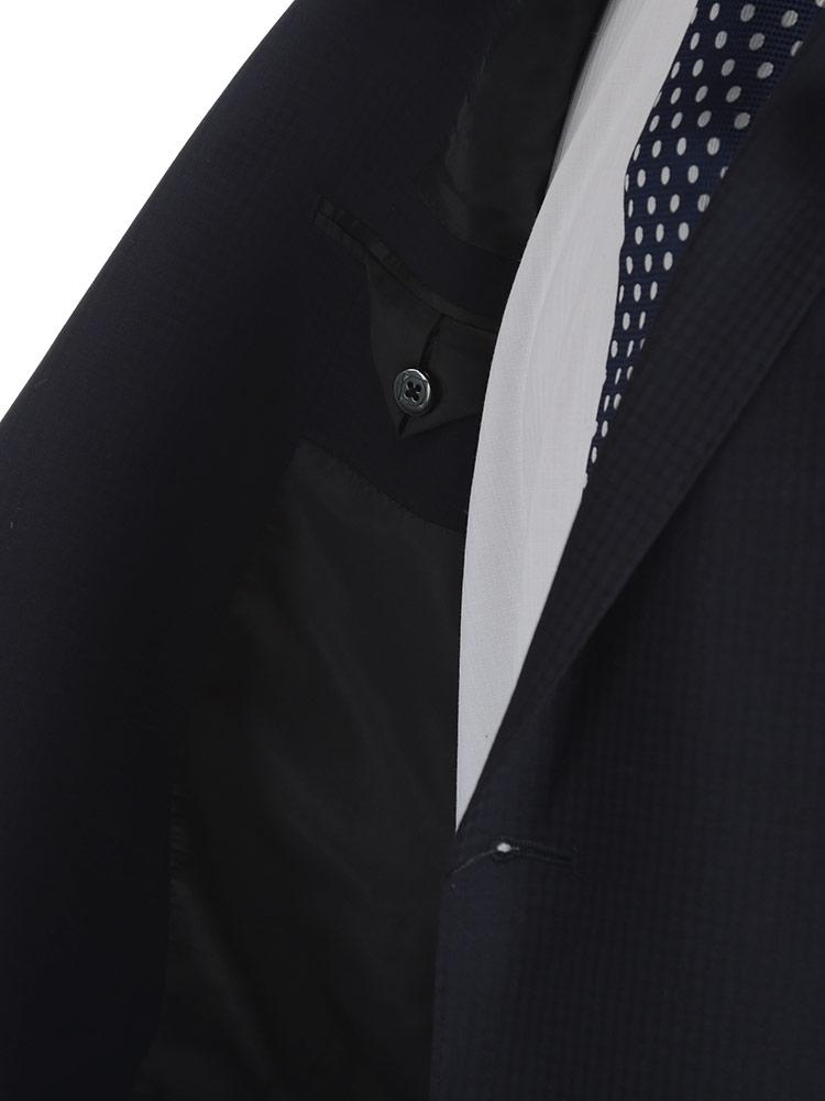 ビジネス スーツ 大きいサイズ メンズ ストレッチ ウール混 シャドーチェック シングル ワンタック 2パンツ ストレッチ 伸縮 ツーパンツ ネイビー KB5 KB8 2KE4 2KE5 Nature Code ネイチャーコードOZkXiuPT