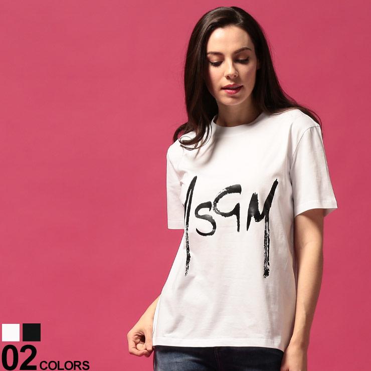 MSGM (エムエスジーエム) 綿100% ペイントロゴプリント クルーネック 半袖 Tシャツブランド レディース トップス Tシャツ プリントT クルー 半袖 春夏 ストリート コットン シンプル MSL2841MDM74