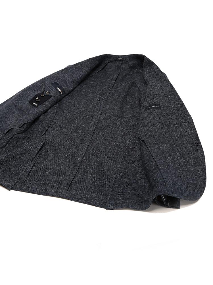 LARDINIラルディーニウールリネン シングル 2ツ釦 ジャケットブランド メンズ 男性 アウター ジャケット テーラード 春物 リネン ウール 裏地無し きれいめ LD534AQRP54591Ybyf76g