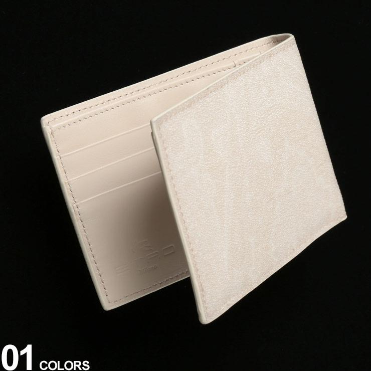 ETRO (エトロ) レザー×コーティングキャンバス ペイズリー柄 二つ折り 財布ブランド メンズ 男性 レザー 財布 2つ折り財布 ウォレット ペイズリー 紳士 革財布 ギフト プレゼント ET068888507