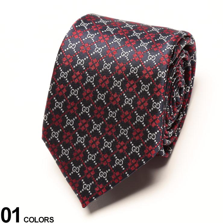 GUCCI (グッチ) シルク100% ロゴ 小紋 ネクタイ NAVYブランド メンズ 男性 紳士 ネクタイ タイ シルク ビジネス フォーマル ギフト プレゼント GC5450724177