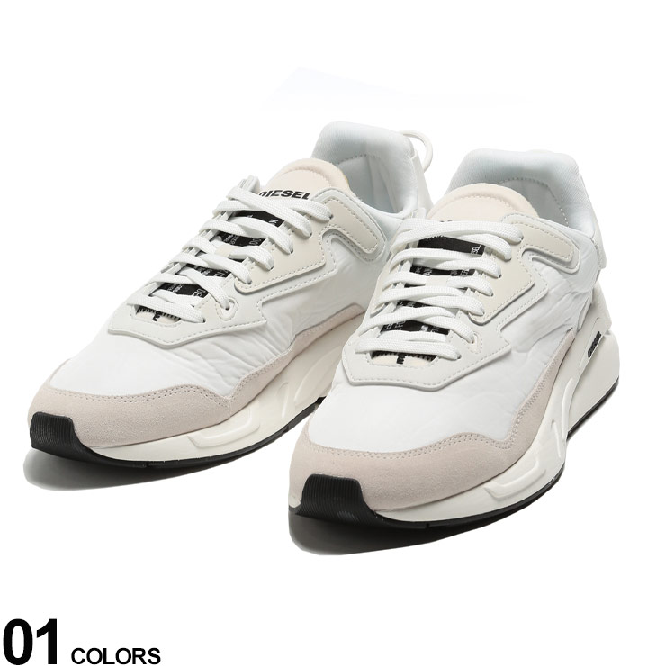 DIESEL (ディーゼル) プリント 異素材 ダッドスニーカー S-SERENDIPITY LCブランド メンズ 男性 シューズ 靴 スニーカー ストリート プリント 厚底 白 DSY02351P3390