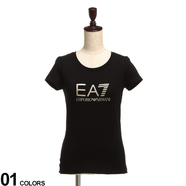 EMPORIO ARMANI 新作からSALEアイテム等お得な商品満載 EA7 エンポリオアルマーニ ブランド レディース セール価格 トップス Tシャツ プリントT クルー EAL8NTT63TJ12Z プリント 夏 コットン Tシャツブランド クルーネック 半袖 フロントロゴ 春