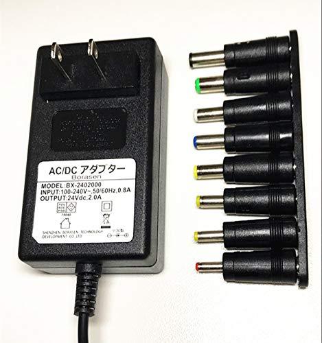 24V2A 汎用 ACアダプター スイッチング方式安定化電源 プラグ外径5.5mm(内径2.1mm)+ 8種DCプラグアダプター  24V2A 汎用 ACアダプター + 8種DCプラグアダプター