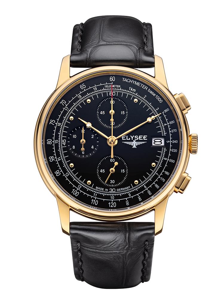 ELYSEE エリーゼ HERITAGE CHRONO メンズ ドイツ 腕時計 ブラック ゴールド クロノグラフ 11012