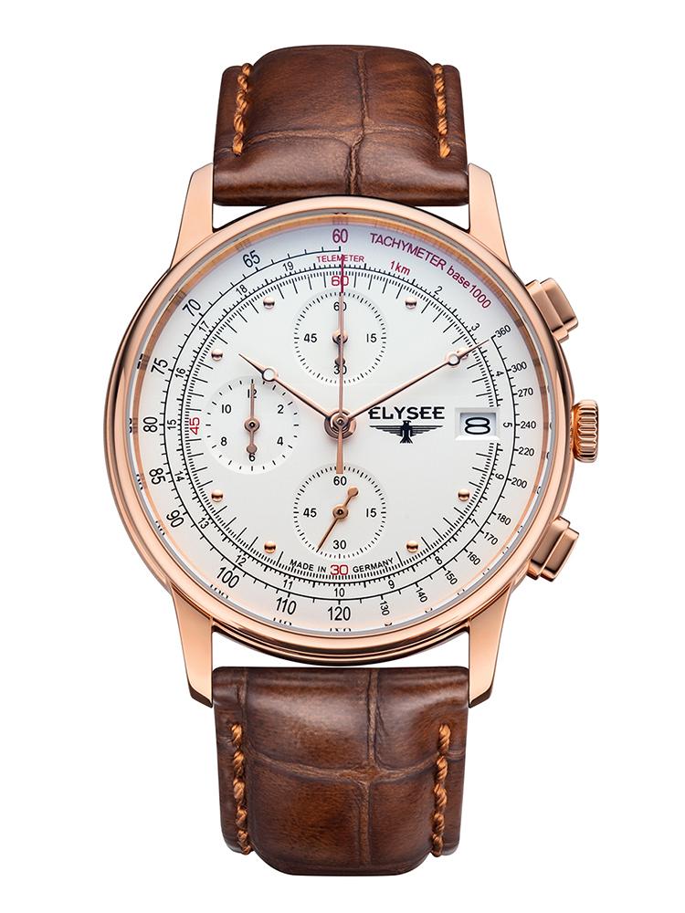 ELYSEE エリーゼ HERITAGE CHRONO メンズ ドイツ 腕時計 ブラウン ゴールド クロノグラフ 11013