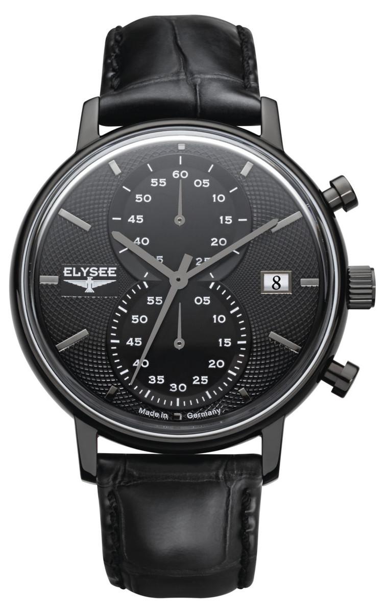 ELYSEE MINOS メンズ ドイツ 腕時計 クラシック レトロ クロノグラフ ブラック 83822