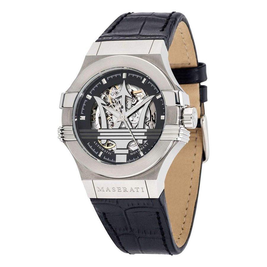 Maserati 腕時計 マセラティ POTENZA R8821108031 スケルトン メンズ 自動巻き ブラック シルバー プレゼント 贈り物