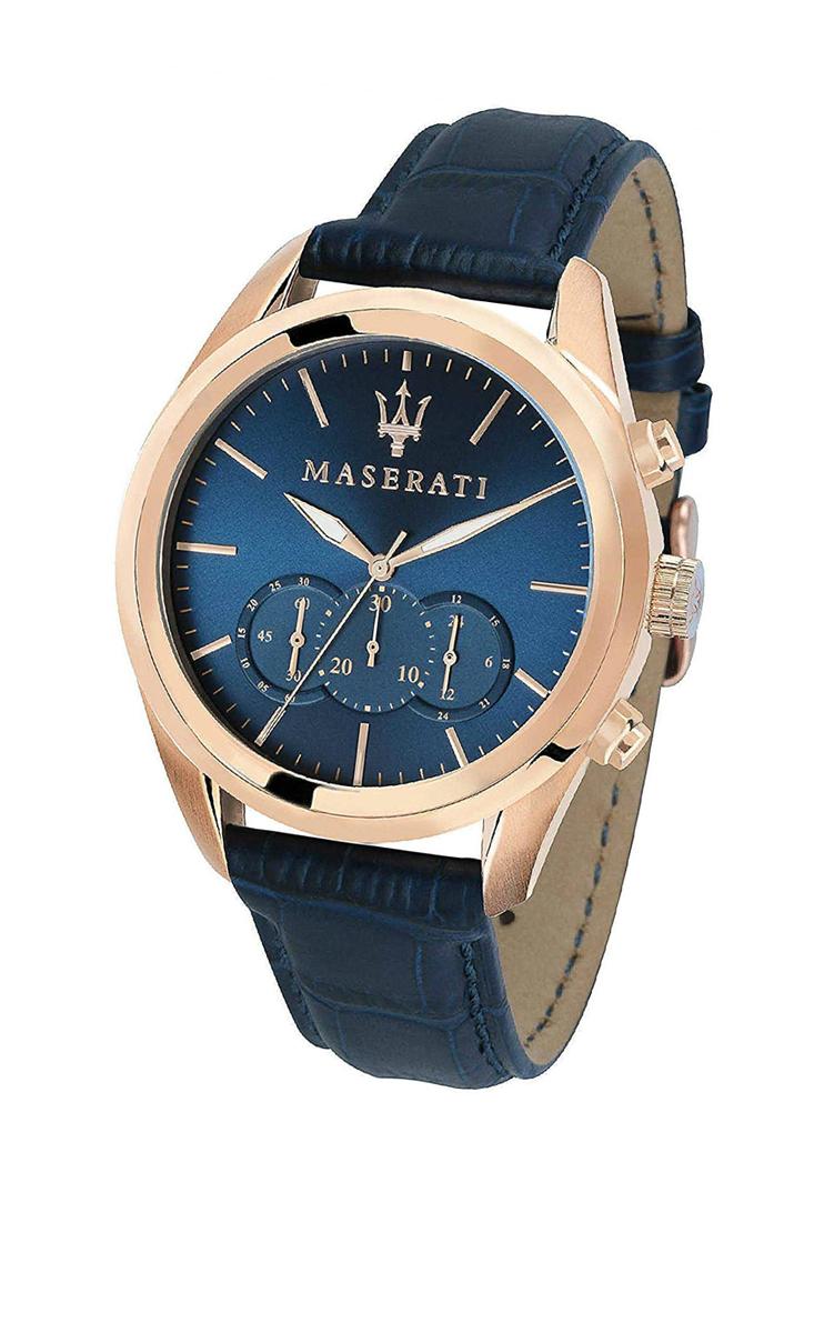 Maserati 腕時計 マセラティ Traguardo 45mm 本革 クオーツ R8871612015 クロノグラフ ネイビー ローズゴールド メンズ プレゼント 贈り物