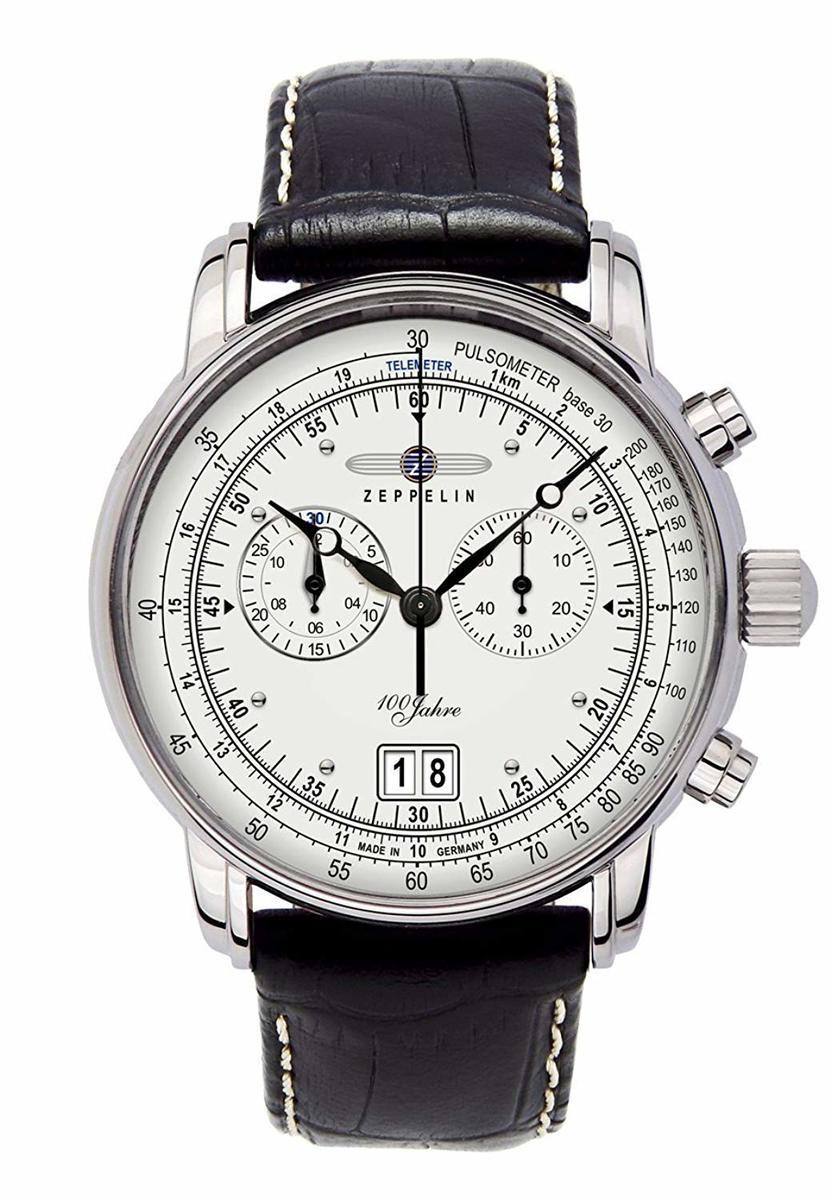 ツェッペリン ZEPPELIN メンズ スペシャルエディション 100周年記念モデル クロノグラフ ブラック クロコ レザー シルバー ケース 7690-1 腕時計 贈り物 プレゼント