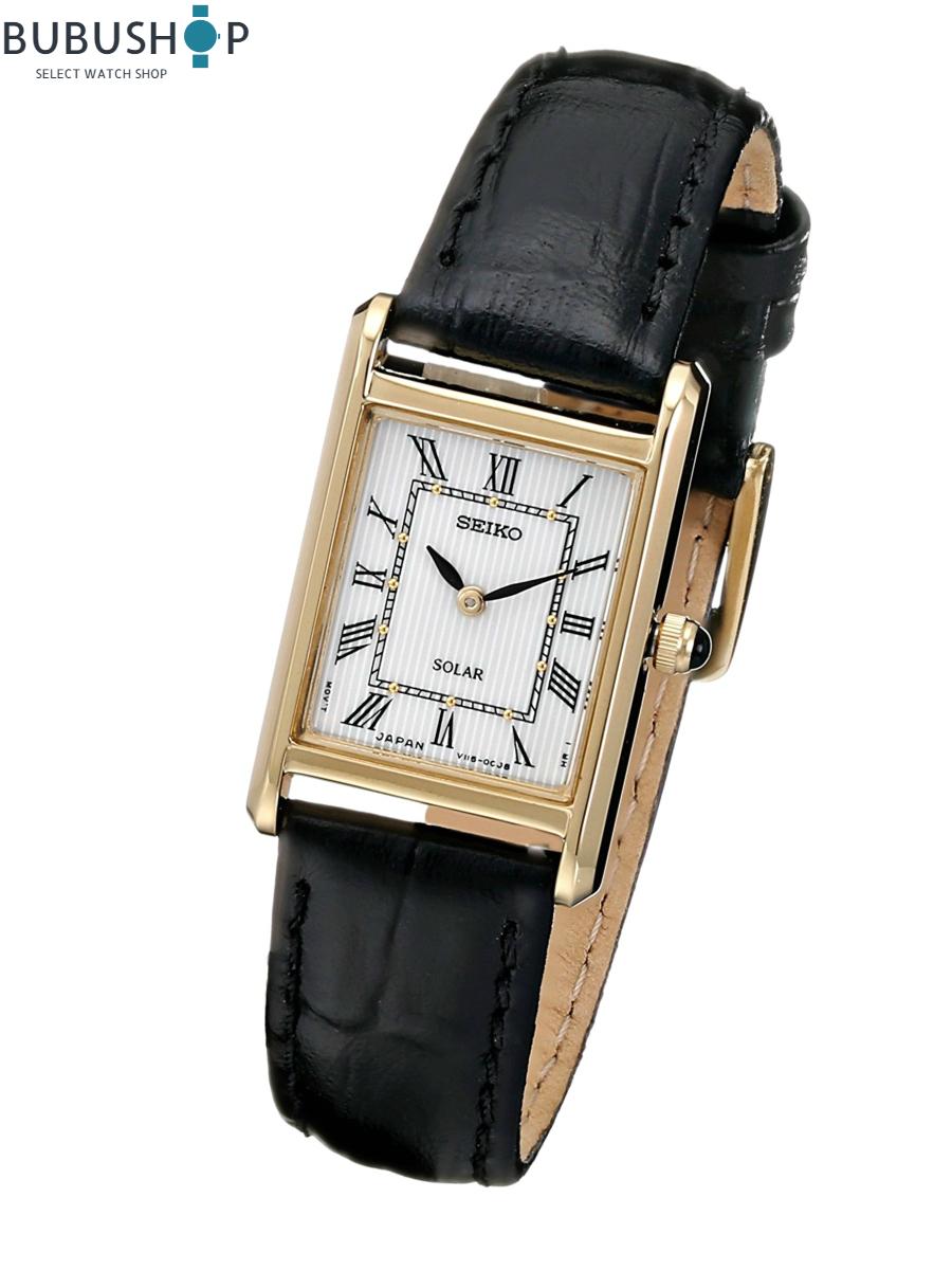 Seiko セイコー クオーツ ソーラー Analog Japanese Quartz Black Watch SUP250 レディース 腕時計
